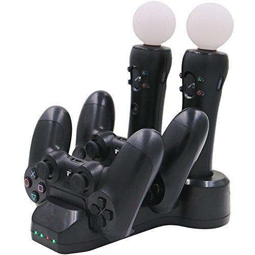 Aresh para PS Move Controller Cargador / PS4 Controller Charger, base de carga para PlayStation 4 Controllers + PS4 / PSVR Move Motion Controllers con LED indicador de carga