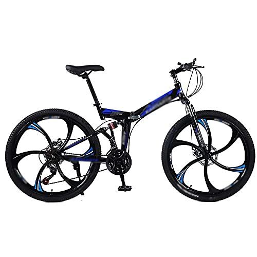 COUYY Bicicleta de montaña plegada 24/26 Pulgadas 6 Cuchillo Rueda Bicicletas de Acero al Carbono Doble Disco Freno Bicicletas Bicicletas Montaña Bicicleta 21/24/27 Velocidad,21 Speed,24 Inches