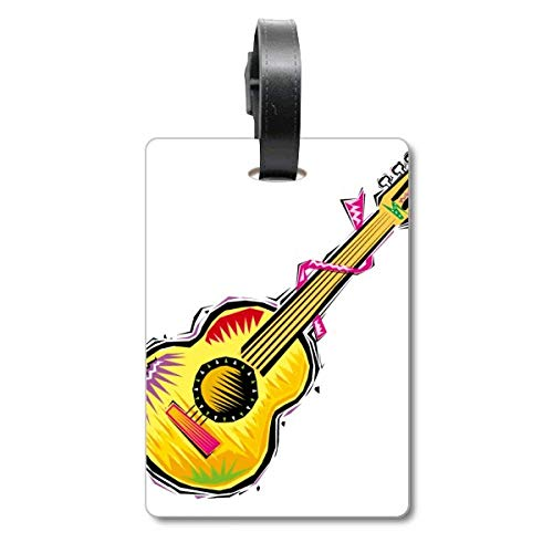 Instrumento Guitarra Mexicon Element Illustration Cruise Suitcase Bag Tag Etiqueta de identificación de turista