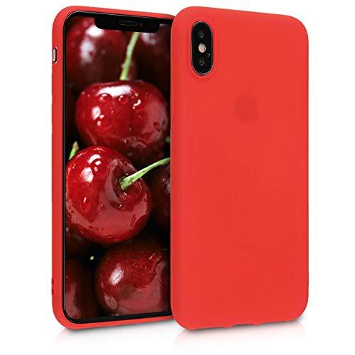 kwmobile Cover Compatibile con Apple iPhone X - Custodia in Silicone TPU - Backcover Protezione Posteriore- Rosso Fluo