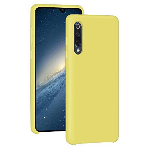 Funda para Xiaomi Mi 9/Mi 9 SE Teléfono Móvil Silicona Liquida Bumper Case y Flexible Scratchproof Ultra Slim Anti-Rasguño Protectora Caso (Yellow, Xiaomi Mi 9)