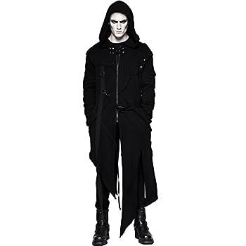 Punk Rave Men s Black Gothic Punk Long Coat Hooded Jacket with Detachable Sleeves  XXX-Large