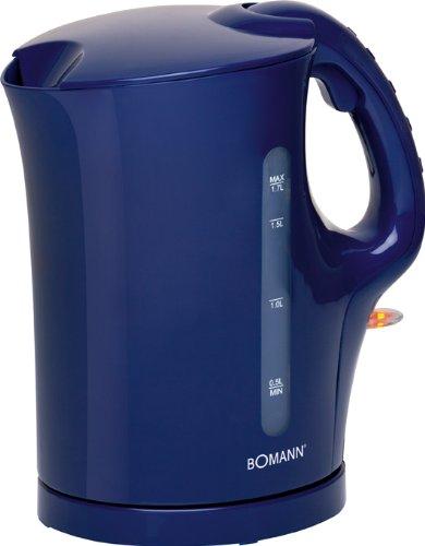 Wasserkocher mit 2000 Watt (1,7 Liter, kabellos, Edelstahl-Heizelement, Kalkfilter, Wasserstandsanzeige,blau)