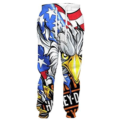 American Flag Eagle - Pantalones deportivos para hombre y mujer, estampado 3D, pantalones de hip hop, Pantalones 2, M