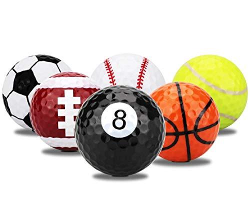 LL-Golf ® Juego de 6 pelotas de golf deportivas en fútbol, baloncesto, béisbol, billar, fútbol americano y tenis diseño / Golf regalo