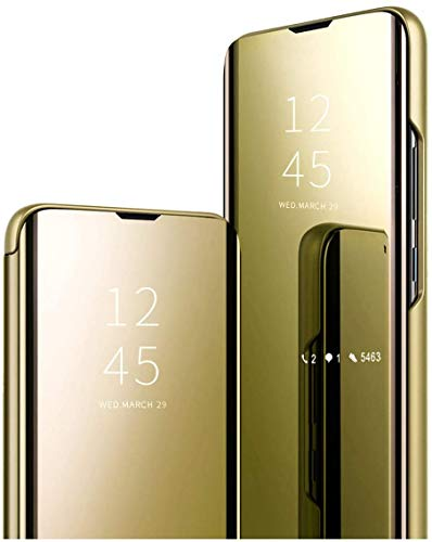 Spiegel Flip Cover kompatibel mit Oppo Reno 3 Pro 4G Clear View Standing Hülle Handyhülle Mirror Makeup Plating Schutzhülle Standfunktion Handy Tasche Bumper Protective Hülle,Gold