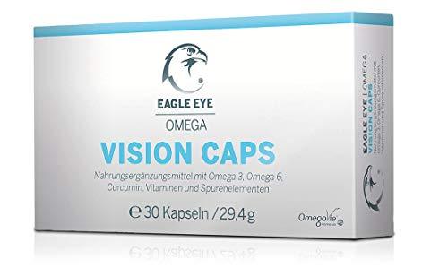 Eagle Eye Augen-Vitamine gegen trockene Augen. Hochdosiert mit Omega 3, Omega 6, Curcumin, D3, B2-Riboflavin, B6, B9 und B12
