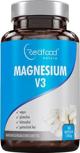 Magnesium V3 Kapseln • 180 Kapseln (6 Monatsvorrat) 300mg elementares Magnesium vegan • Magnesium-Carbonat + Magnesium-Citrat + Magnesium • Oxid-Beste Bioverfügbarkeit ohne Magnesiumstearat