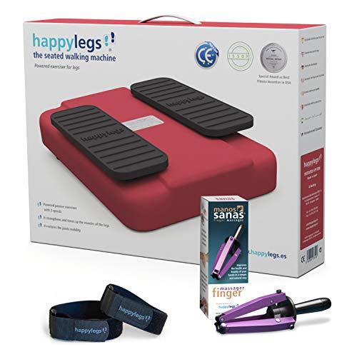 Oferta Pack Happylegs Rojo + Manos Sanas + Correas. Estimula tu circulación de piernas y manos. La Máquina de Andar Sentado que Ayuda a Mejorar la Circulación. ÚNICA fabricada en España (Rojo)