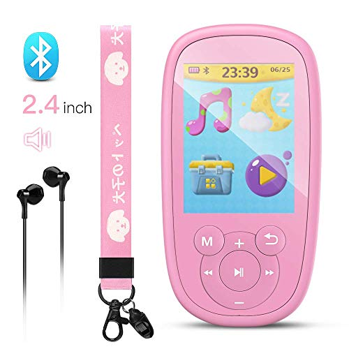 AGPTEK MP3 Player for Kids, Children Music Player with Bluetooth, Built-in Speaker 8GB, 2.4 Inch Color Screen, Support FM Radio, Video, Voice Recorder, Expandable Up to 128GB,Pink