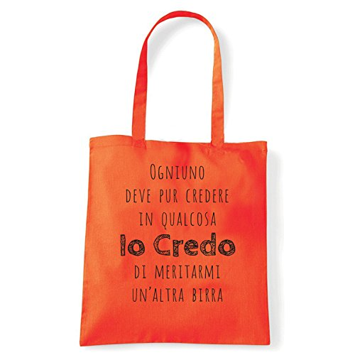 Art T-shirt - Bolso al hombro de Algodón para mujer Arancio Talla única