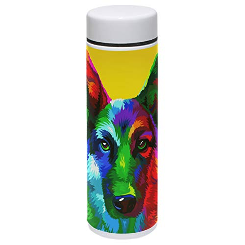 Dog Thermos Vacuum Insulated Bottle,Shepherd Yellow Painting Art Style 304 Stainless Steel Water Bottle for Kids Adult,BPA Free Coffee Travel Mug Cup Mini 7.5 Oz Best Birthday Christmas Gifts
