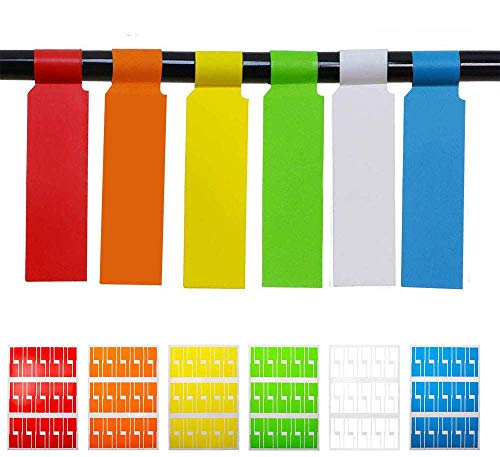 Tuyounger 180Pcs Self Adhesive Cable Labels Waterproof Assorted Color Tear Resistant 6 Sheet Label Stickers for Office Work School Computer Cord Laser Printer (180PCS)