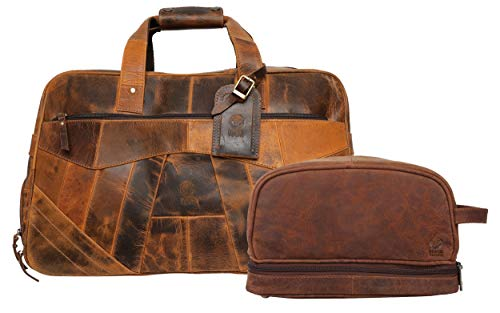 Leather Duffel Bag & Toiletry Bag Combo - The Best Masculine Travel Gift For Men