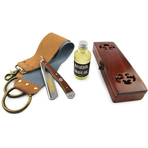 "A.P. Donovan – 5/8"" Rasiermesser Set | mit Leder-Streichriemen Rasierpinsel und Rasierseife | Mahagoni-Holz | Rasiermesser aus Solingen (Komplett-Set)"