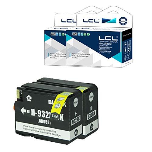 LCL Cartucho de Tinta Compatible 932XL 932XLBK High Yield (2 Negro) Reemplazo para HP Officejet 6100 6600 6700 7110 7610 7612 7510 7512