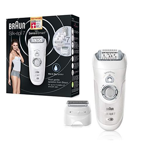 Braun Silk-épil 7 7/880 SensoSmart Epilierer, silber, mit Andruckkontrolle und 7Extras