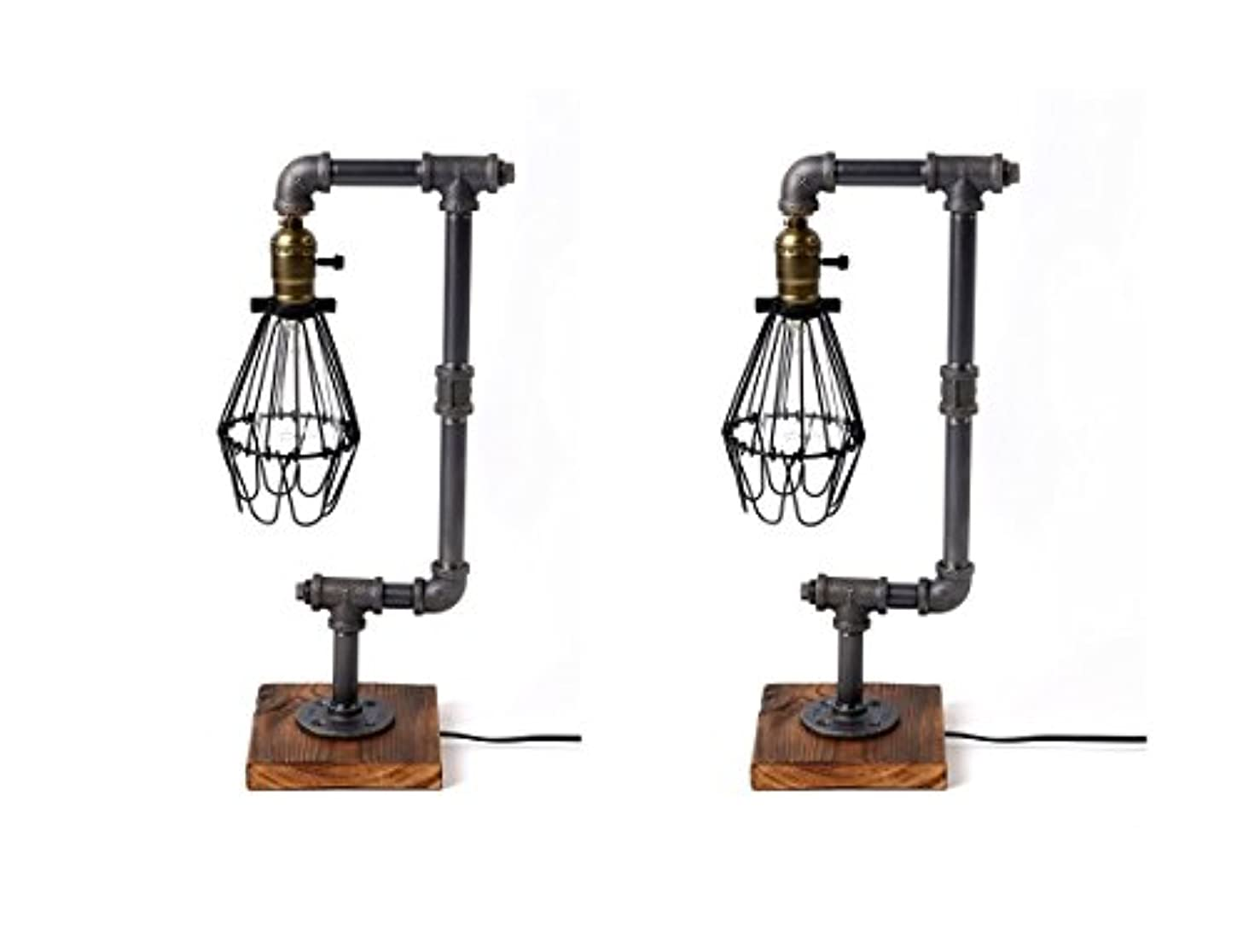 Pack of 2 Bird Cage Designer Steampunk Water Piping Desk Top Table Lamp Wood Base Rustic Home Deco Steam Punk Industrial Interior Design Bedside Minimalist Victorian Edison Iron Retro Lighting Lamps