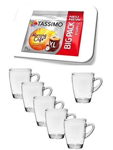 Tassimo Morning NEU 21 Kapseln Café XL, Kaffee Kapseln + 6 Glastassen mit Henkel 310cc