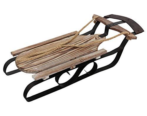 Slitta in Legno Decorazione 51cm Ferro slittino Inverno Neve Stile Antico