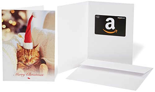 Amazon.com $50 Gift Card in a Greeting Card (Christmas Cat Design)