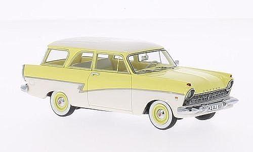 Ford 17M (P2) Turnier, hellgelb Weißs, 1957, Modellauto, Fertigmodell, Neo 1 43