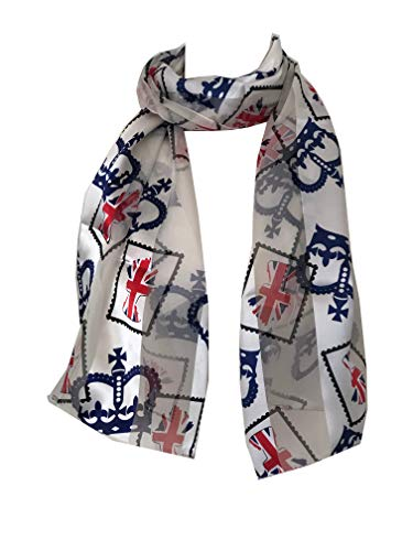 Pamper Yourself Now Creme mit blauen Kronjuwelen und Union Jack Flagge, dünne hübsche Schal-Cream with blue crown jewels and Union Jack, thin pretty scarf with black border