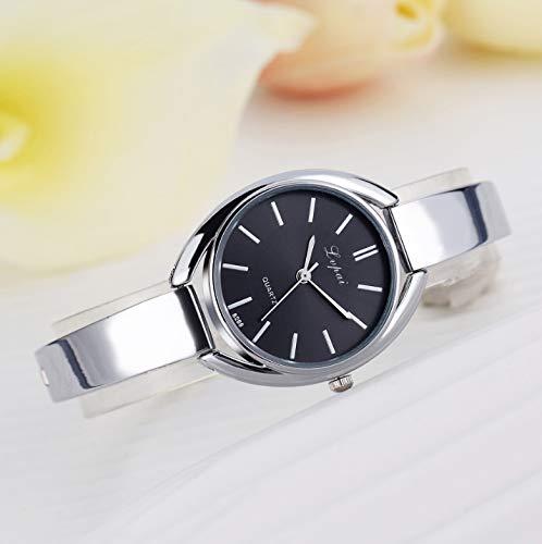 Cellphoneparts BZN Smart Watch Case P072 Reloj de cinturón de Silicona de cinturón de Acero de Las Mujeres P072 (Oro de Oro Rosa) (Color : Silver Black)