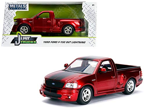 1999 Ford F-150 SVT Lightning Pickup Truck Candy Red Black Stripes Just Trucks Series 1/24 Diecast Model Car Jada
