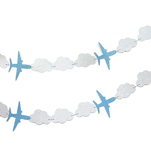 SUNBEAUTY 3 Meter Flugzeug Wolke String Girlande Dekoration Kinderzimmer Party Feier (Flugzeug & Wolken)