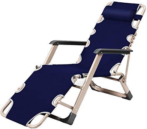 DFJU Cadeiras de jardim com espreguiçadeira Cadeira confortável reclinável gravidade Zero ao ar Livre Cadeira Extra Larga ajustável para jardim e Piscina de Praia, suporte 200 kg (Cor, Azul), Azul