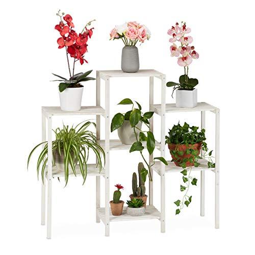 Relaxdays Soporte Plantas Decorativo, Estantería Flores de Interior, Expositor, Madera, 86,5 x 95 x 29,5 cm, Blanco