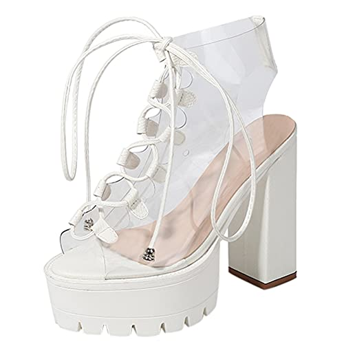 Stivali Scarpe Donna Tacco quadrato trasparente Platform Peep Toe Lace Up (38,bianca)