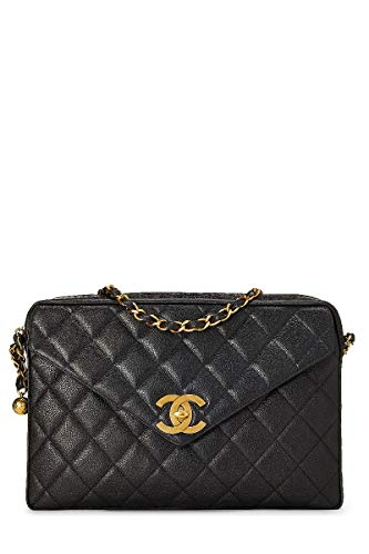 CHANEL Black Quilted Caviar Envelope Camera Bag XL (Renewed)