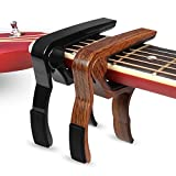 Guitar Capo for Acoustic & Electric Guitars, 2-Pack Metal Black Guitar Capo & Rosewood Guitar Capo, One-hand Adjustable Capo Clamp, 2 Pack (Rosewood+Black)