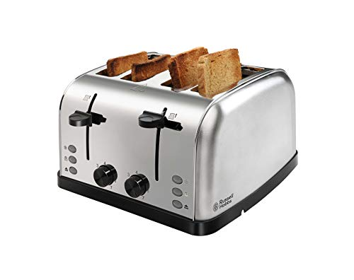 Russell Hobbs 18790 1250/1500 Watt Premium Stainless Steel 4 Slice Automatic Pop-up Toaster with 2 Year Manufacturer Warranty