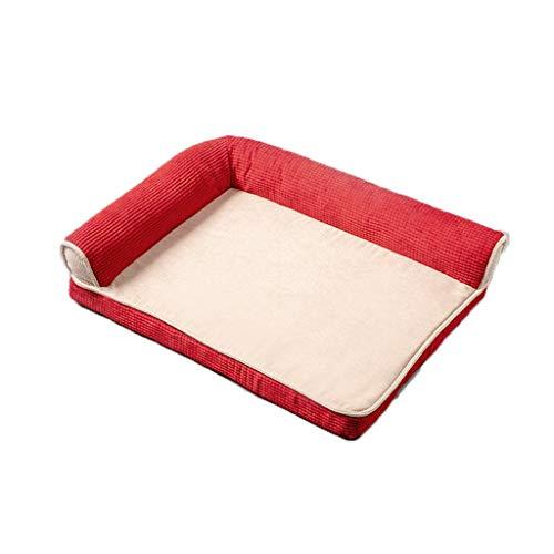 Hundebett |Orthopädie Anti-Rutsch-Katze Sofa-Katze-Hundebett, weich und bequem (Color : Red 2, Size : XL)