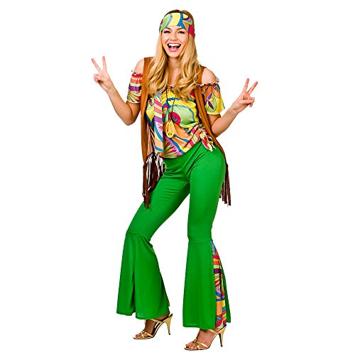 Wicked Groovy Hippie Ladies Full Outfit. Includes headband, shirt, waistcoat, trousers, necklace. Sizes XS to XL.