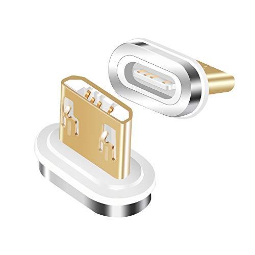 LAMA Adattatore Micro USB Magnetico, [2 Pacco] Connettore Micro USB Magnetico Compatibile Cavo di Ricarica Magnetico, Solo Adattatori