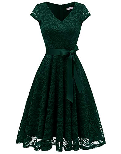 BeryLove Damen V-Ausschnitt Kurz Brautjungfer Kleid Cocktail Party Floral Kleid BLP7006DarkGreenL