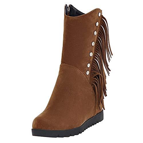JERFER Reißverschluss Wildleder Schneestiefel Frauen Runde Toe Wedges Quaste Schuhe Middle Tube Stiefel