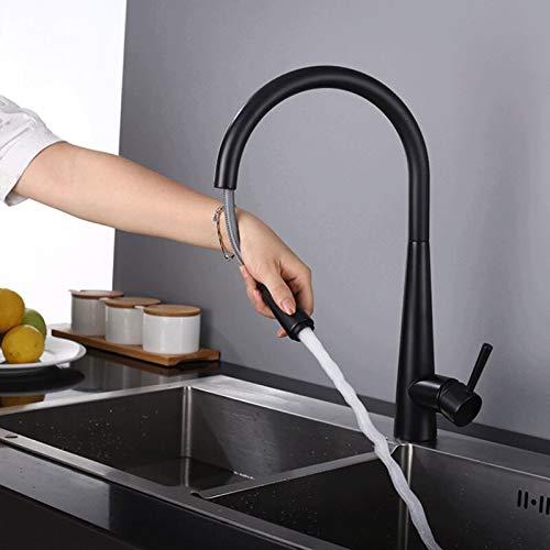DLGGO Grifo del mezclador del fregadero de la cocina, grifo de la cocina con cabezal de ducha de mano extensible, tacto inteligente 360 ° Giro de acero inoxidable giratorio con 3 modos de pulverizac