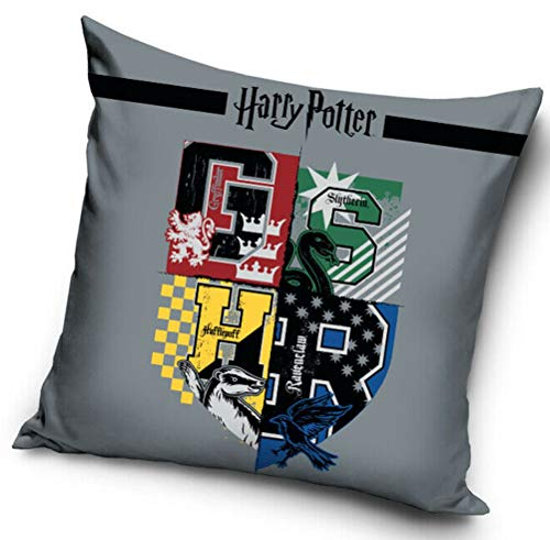 Coole-Fun-T-Shirts Harry Potter kussenhoes 40x40cm sofakussenhoes lichtgrijs 4 wapen Ravenclaw Slytherin Hufflepuff Griffindor