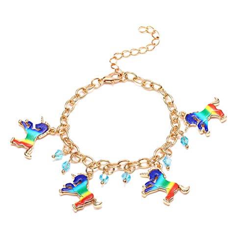 STOBOK Einhorn Armbänder Rainbow Creative Unicorn Charm Armband für Mädchen Kinder