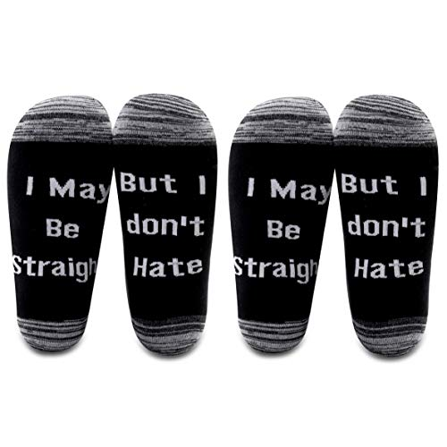 LEVLO LGBT Lesben Gay Pride Socken I May Be Straight But I Don't Hate Baumwollsocken Geburtstagsgeschenk - - Medium