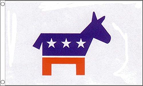 UKFlagShop 1,5 x 0,9 m (150 x 90 cm) Parti démocratique Démocrates USA United States Matière 100% polyester Drapeau Bannière Idéal pour le Club d'école Business Décoration de fête