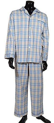 Lloyd Attree & Smith Herren 100{b25db6a1cfd243d16072e471dd40a338e1df27aaea7635f62c8a211ea8dcdfa0} Baumwolle Schlafanzug Pyjama in hellblau & Beige kariert