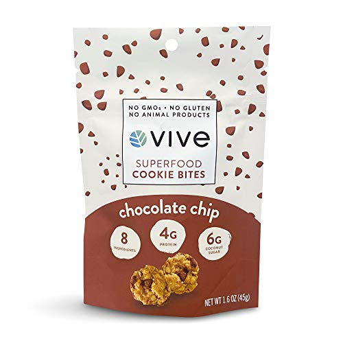 Vive Superfood Cookie Bites Healthy Snacks 5 Pouches 1.6 oz Real Food Gluten Free Vegan Low Sugar (Chocolate Chip) from Shayna's Sweet Garden, LLC