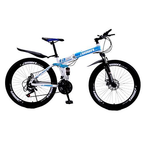 XM&LZ Acciaio Ad Alto Tenore di Carbonio Mountain Bike Pieghevole,velocità Variabile Pneumatico Grasso Sospensione Biciclette MTB,Bici Pieghevole su Strada Bicicletta Adulti Bambini B 21speed 24inch