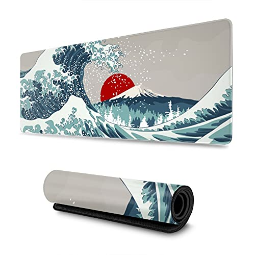 Japanese Kanagawa Wave Red Sun Gaming Mouse Pad XL, Extended Large Mouse Mat Desk Pad, Stitched Edges Mousepad, Long Non Slip Rubber Base Mice Pad, 31.5 X 11.8 Inch